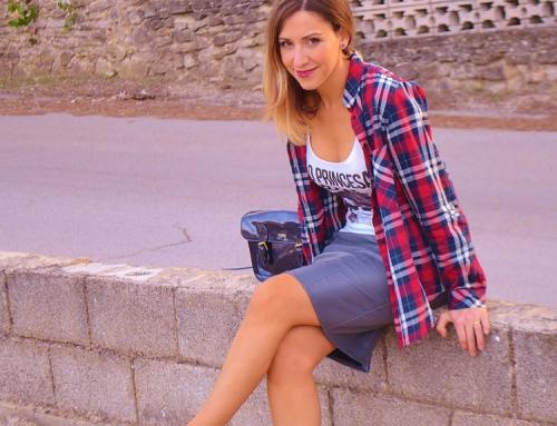 Tartan shirt & leather skirt